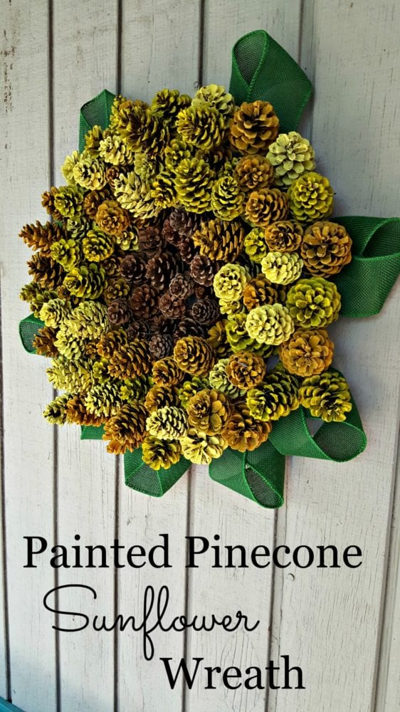 Painted Pinecone Sunflower Wreath