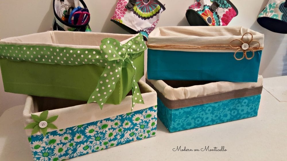 Fabric covered storage boxes modern on monticello for Fabric covered boxes craft