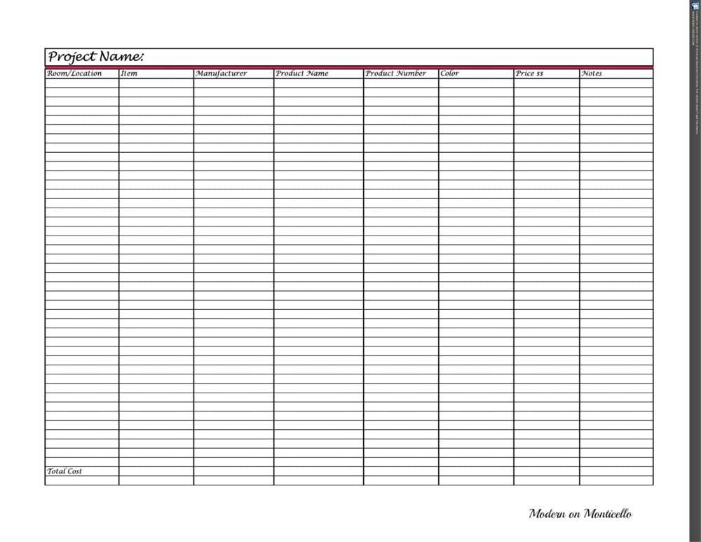 Project Schedule Worksheet