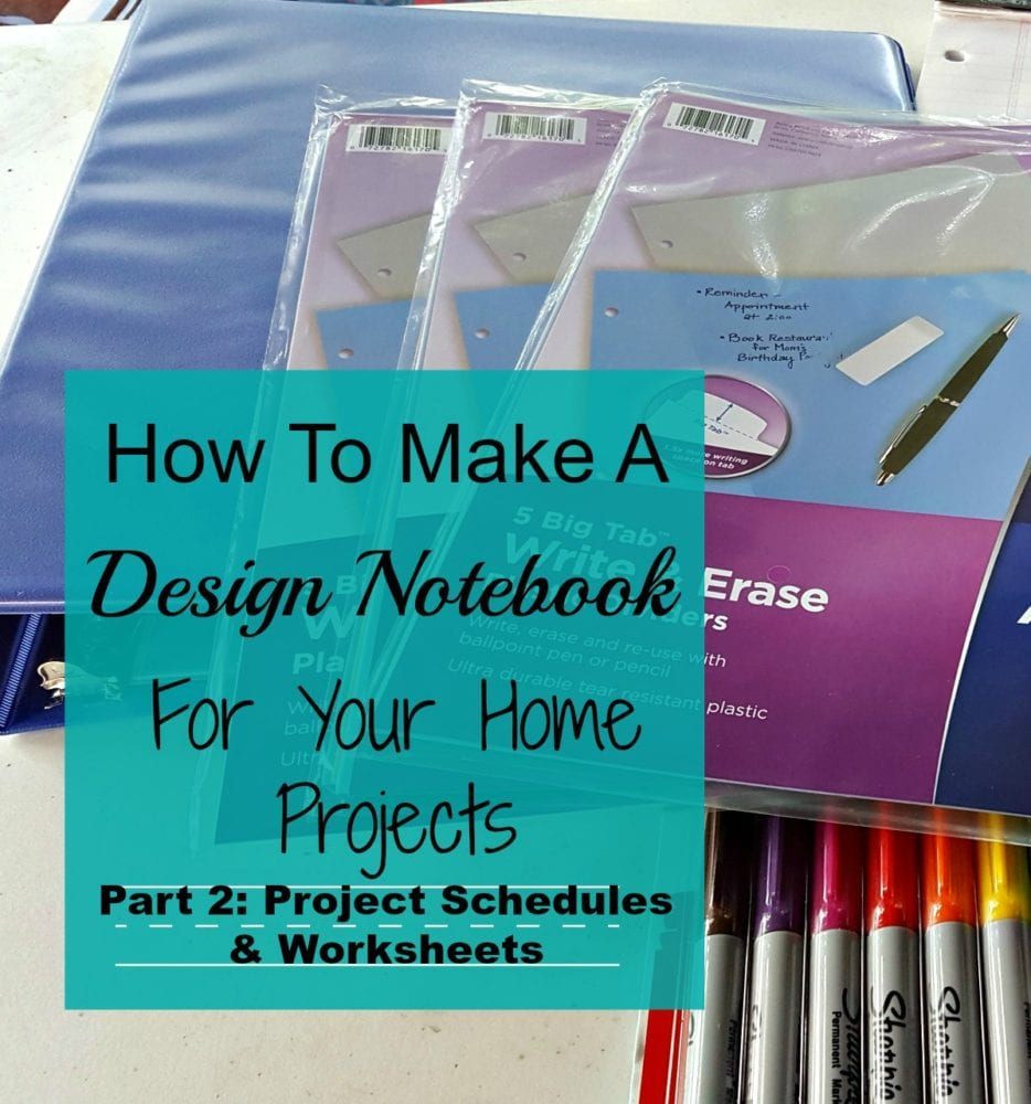 Design Notebook Part 2: Project Schedules & Worksheets - Modern on ...