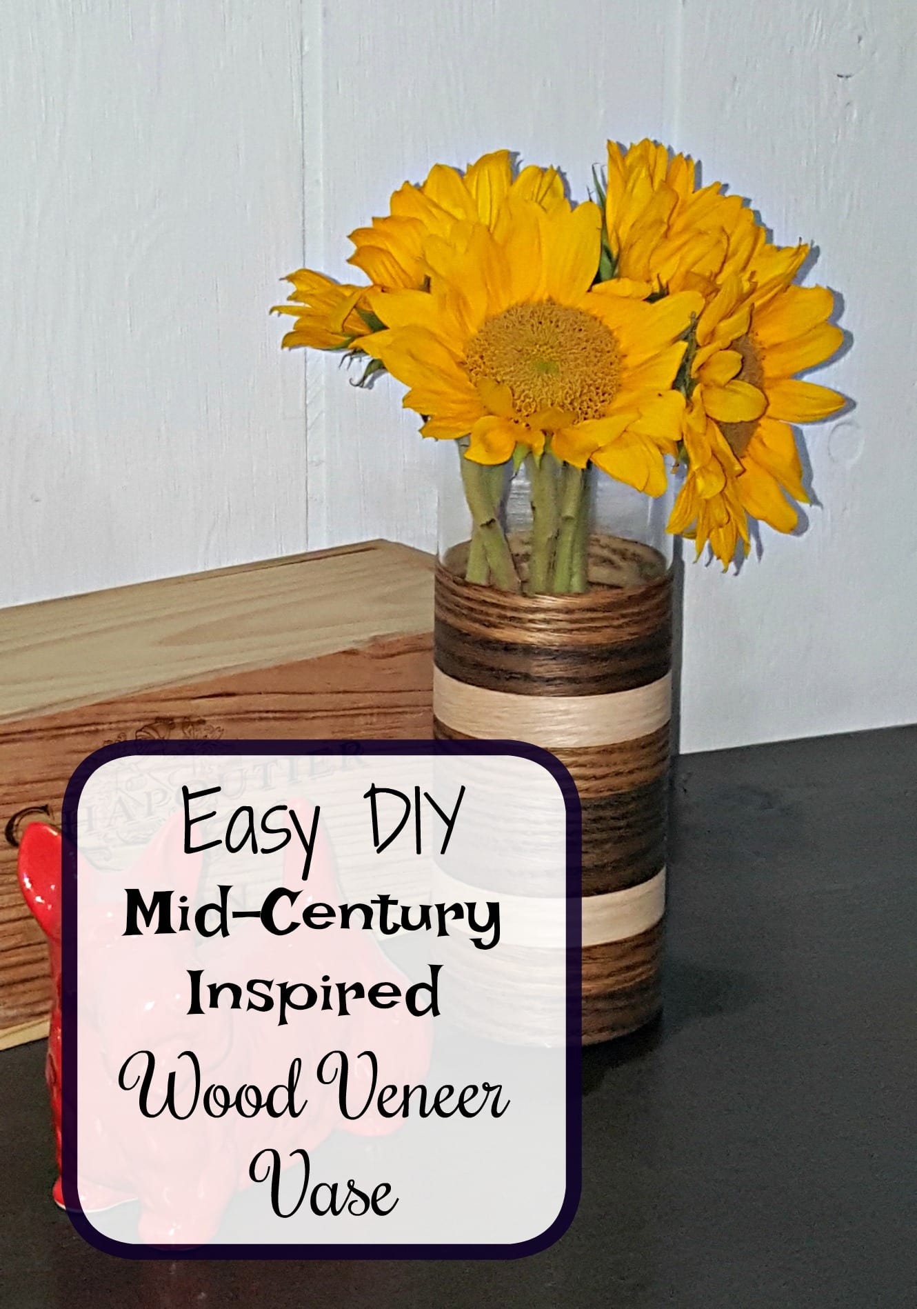 Diy mid century modern inspired wood grain veneer covered for Wood veneer craft projects