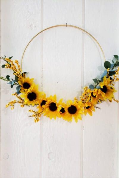 gold hoop sunflower wreath