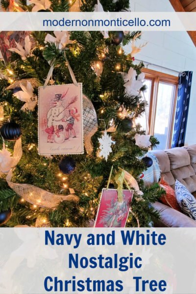 navy and white Christmas Tree