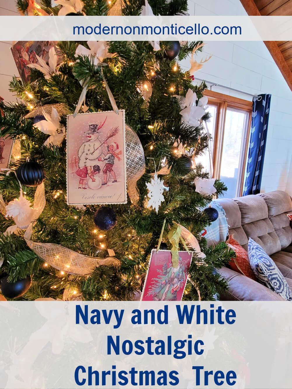 Navy And White Nostalgic Christmas Tree Modern On Monticello