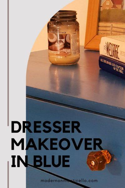 dresser makeover in blue