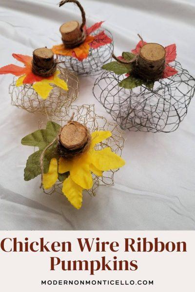 chicken wire ribbon pumpkins